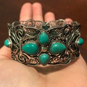 QVC Sterling Silver Turquoise Filigree Bangle